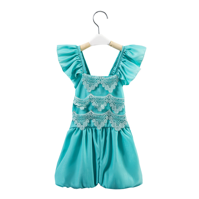 2016 lastest hot summer lace jumpsuit baby suit girl clothing