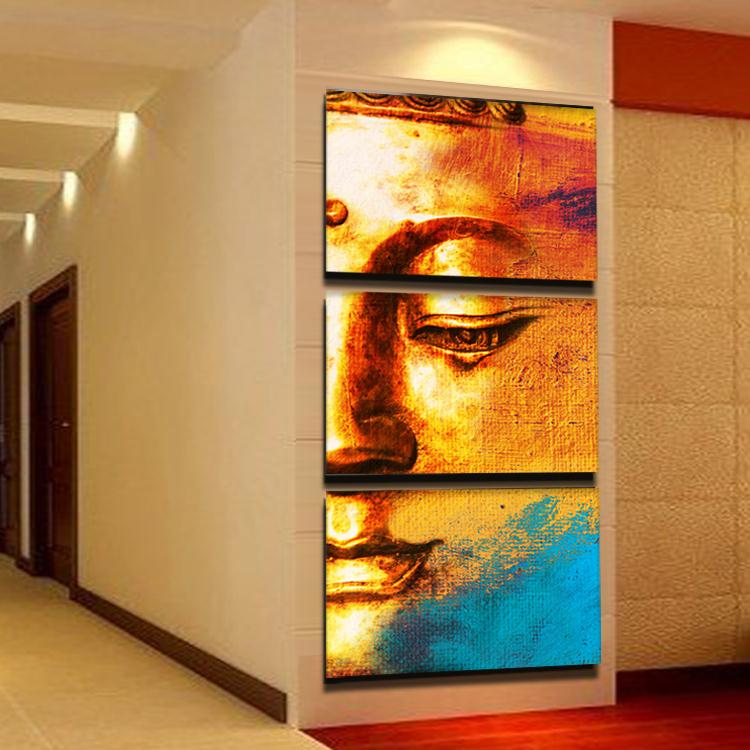 Free shipping gold buddha oil painting wall art paintings for Art painting for home decoration
