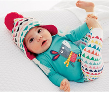 Retail 2015 Autumn style Infant clothes Clothing sets Cotton Cartoon Animal 2pcs(Long Sleeve + Pants) Baby clothes