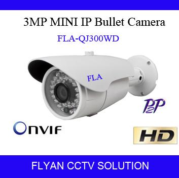 3.0 Megapixel IP Camera Mini Gun H.265 Onvif Hi3516D+OV4689 Outdoor IR-CUT P2P Cloud Waterproof IR 20M Office Surveillance(China (Mainland))
