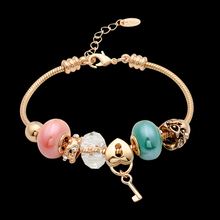 Vintage Real 18k Gold Plated Double Sweet Color Round Beads with Love Heart Lock Key Charm Bracelet for Women Jewelry(China (Mainland))