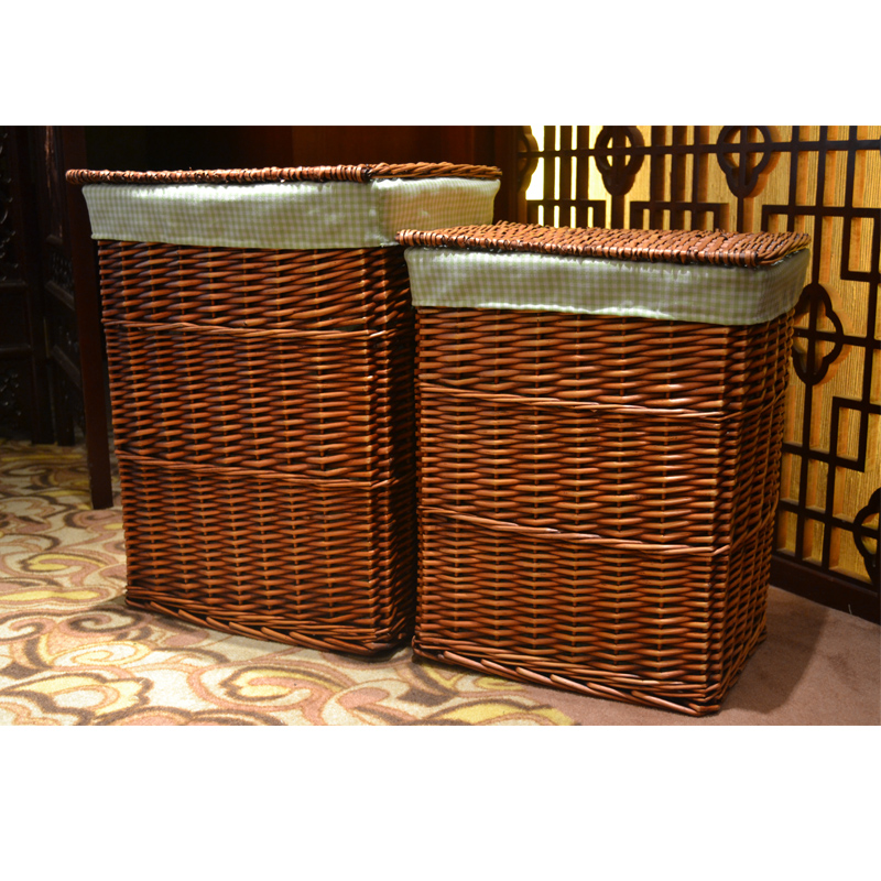 New arrival 2013 storage basket wicker rattan storage box double storage baskets with lid dirty - Rattan laundry basket with lid ...