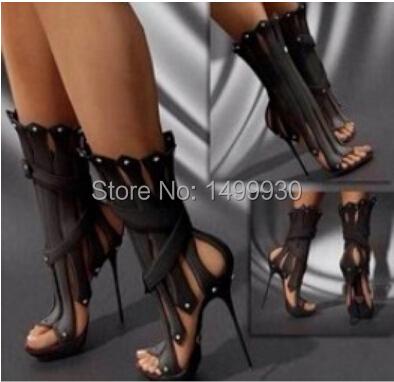 Black High Heel Gladiator Sandals