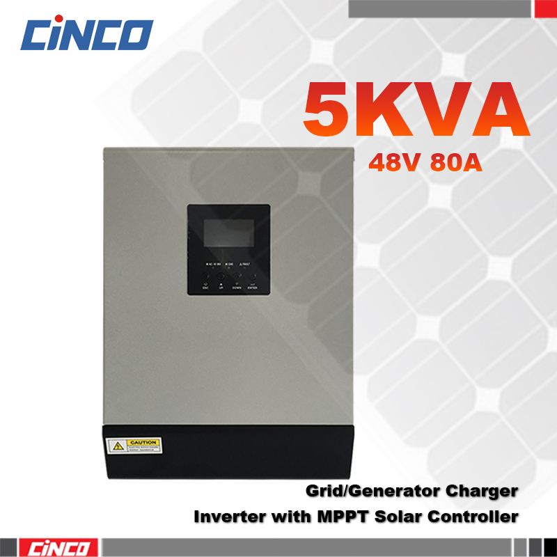 5KVA 48V 80A Solar inverter with MPPT Solar charge controller and grid charger 4Kw power inverter connected battery for home use(China (Mainland))