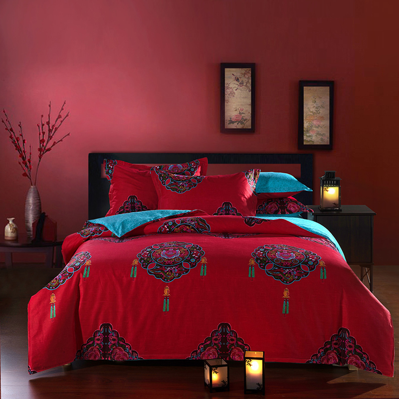 Red color 100% cotton Chinese national Bedding 4pcs pure cotton satin bedding set /comforter set/ duvet cover set/ bed sheet(China (Mainland))