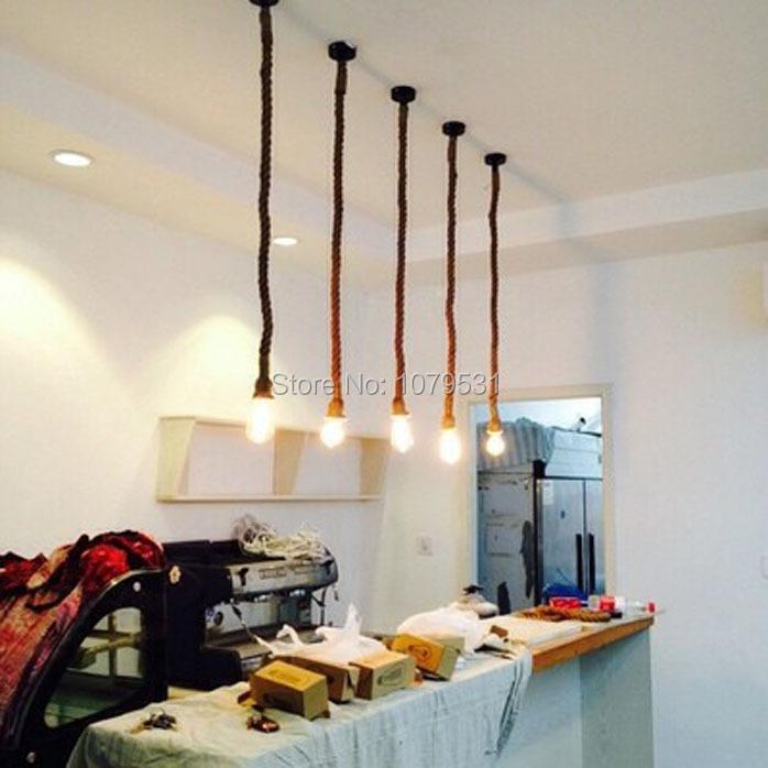 Dia 2.5/3/3.5/4CM Black Ceiling Plate Hemp Rope Pendant Light Personalized Diy Handmade Technology Classical Decor Hanging Light(China (Mainland))