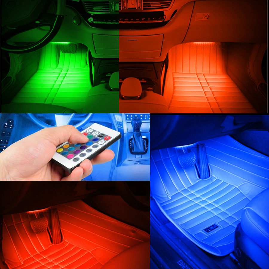 POSSBAY -50% OFF Remote Control and Remote Music Voice Control RGB Car Lights Interior Decorative Atmosphere Lamp Colorful(China (Mainland))