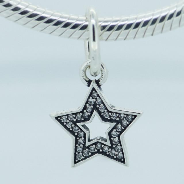 Подходит пандора подвески-талисманы браслет 100% 925 чистое серебро бусины мотаться лаки Star прозрачный CZ марка подвески своими руками ювелирные изделия