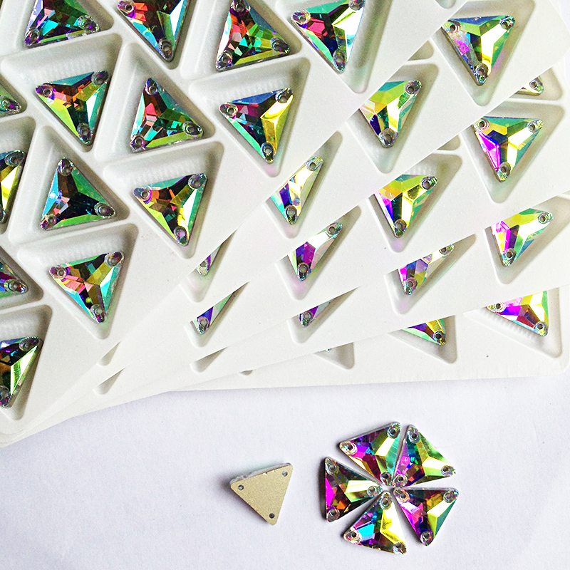 High Quality Triangl-e Glass Stones Crystal AB Sewing Rhinestone Appliques For DIY Wedding Dresses(China (Mainland))
