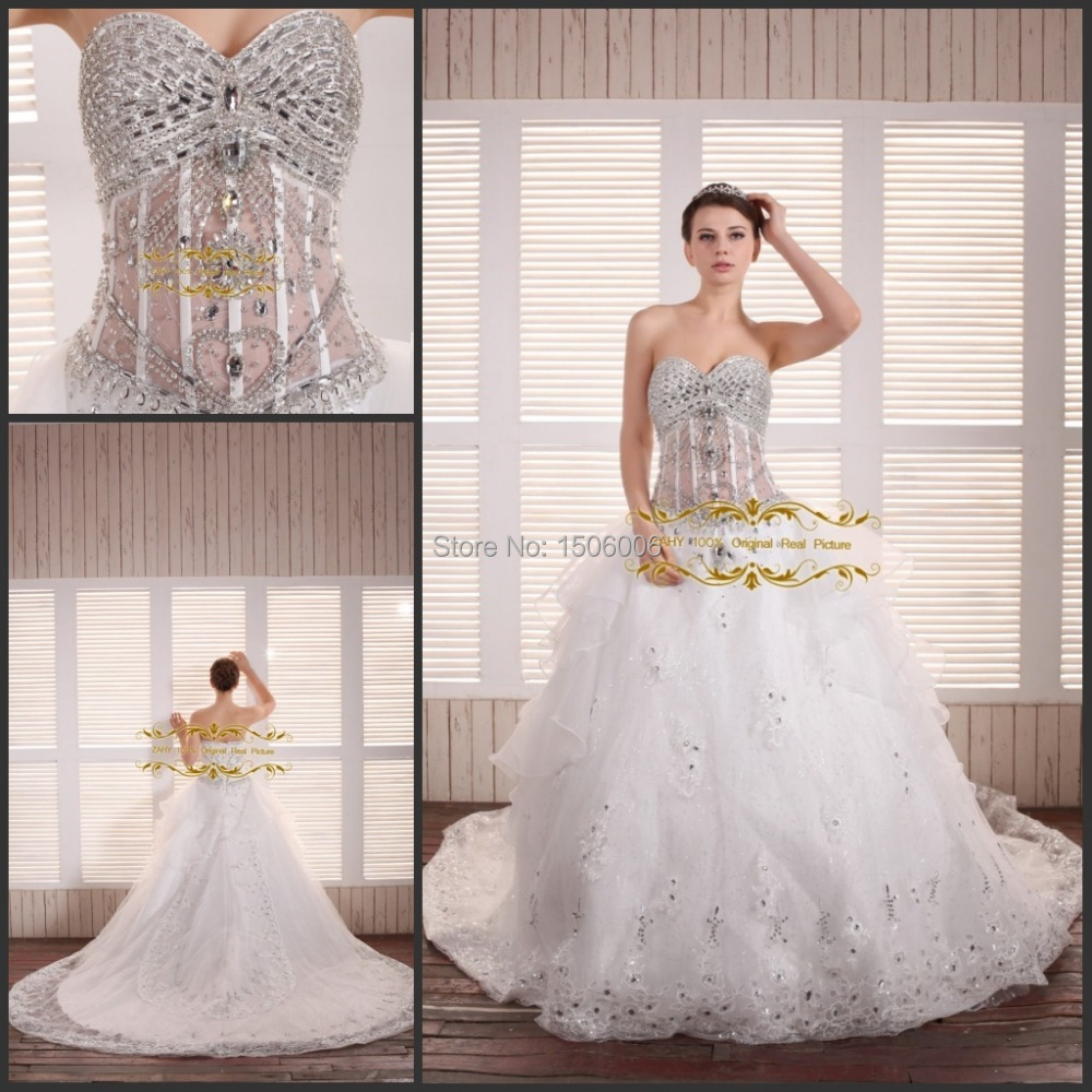 Luxury sweetheart bling crystal embroidered lace on net bandage court train in stock quick shipping wedding dresses HYD78(China (Mainland))