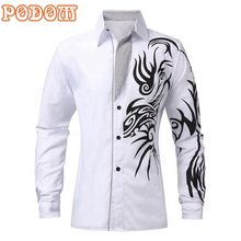 4 Colors Podom New 2015 Hot Sale Men Male Fashion Silm Fit Shirt Long Sleeve European Style Tattoo Dragon Printed Shirt 4 Size(China (Mainland))
