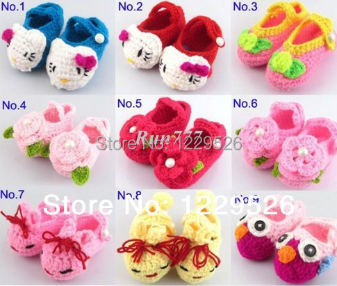 Crochet Handmade Knit Baby Shoes Multi Pattern Baby Flowers Animal Shoes Toddler First Walker Shoes Floor socks Crochet shoes(China (Mainland))
