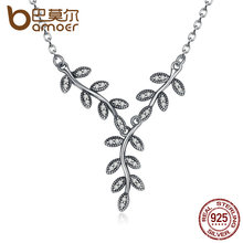 BAMOER 925 Sterling Silver Sparkling Leaves Long Pendant Necklace, Clear CZ Women Pendants & Necklaces Jewelry PSN008(China (Mainland))