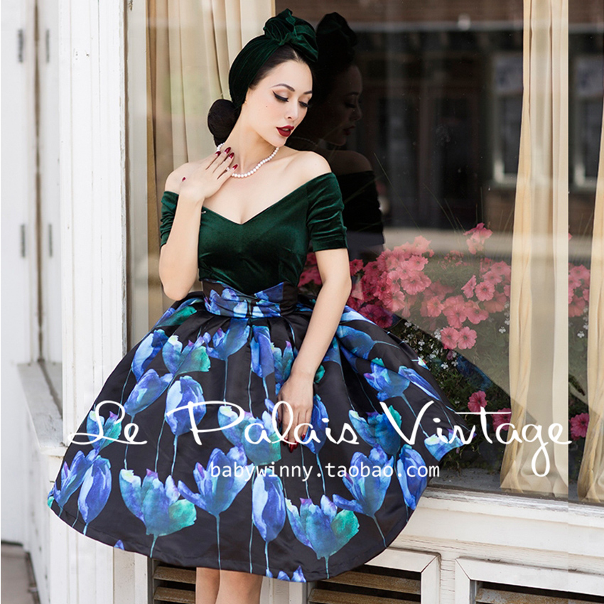 Le Palais Vintage Elegant Black Blue Green Floral V Neck Strapless High Waist Knee Length Dress Women Vestidos - Palace store