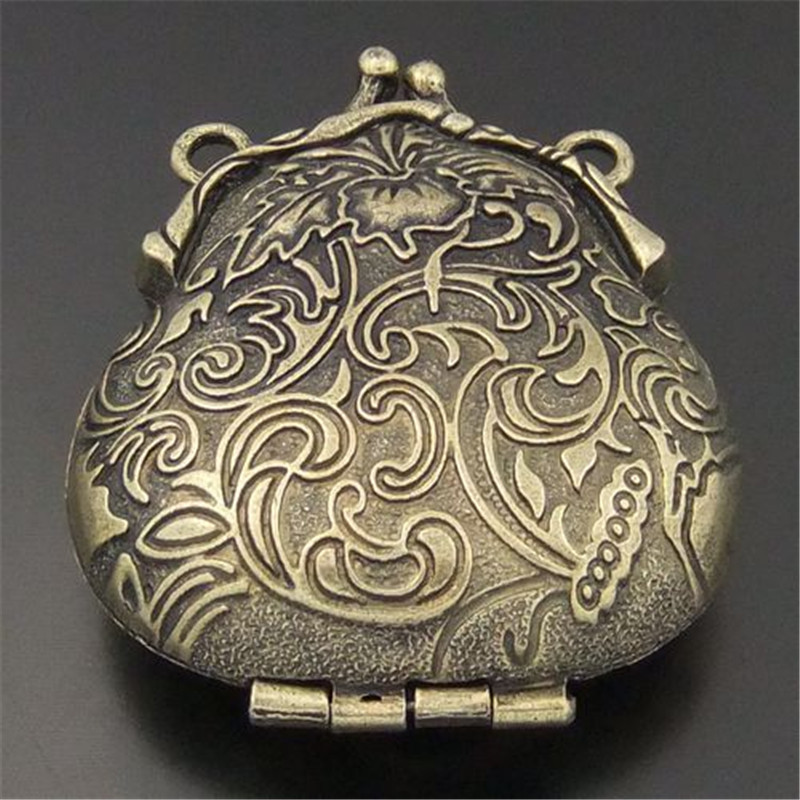 2PCS Antique Style Bronze Tone Ancient Purse Locket Alloy Charms Pendants 54*45*18MM OpenClose Wishes Box Retro Male Gift 04113(China (Mainland))