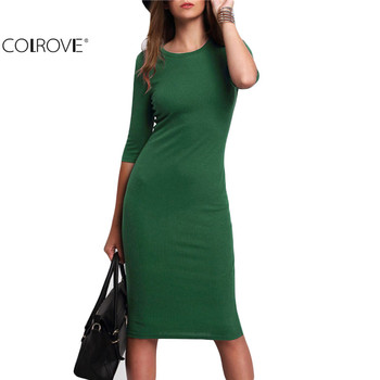 COLROVE Work Summer Style Women Bodycon Dresses Sexy 2016 New Arrival Casual Green Crew Neck Half Sleeve Midi Dress