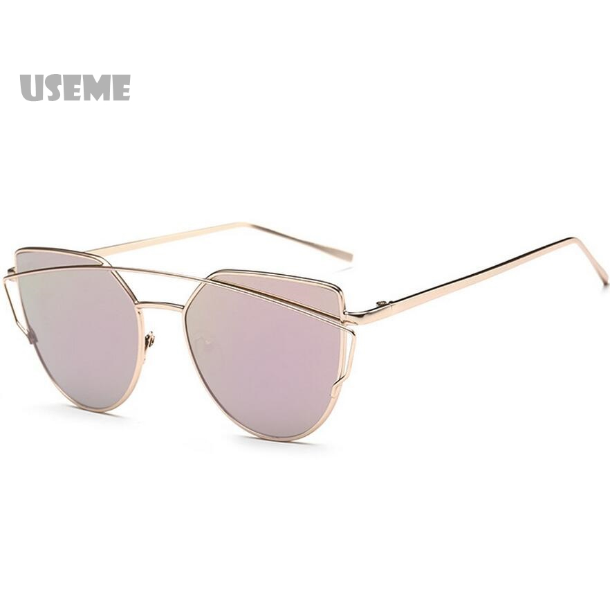 Fashion Sunglasses Women Cat Eye Sunglasses Famous Lady Brand Designer Twin-Beams Sunglasses Coating Mirror Glasses UV400(China (Mainland))