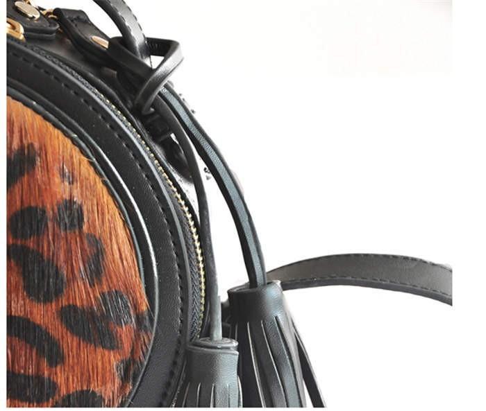 2016 корейский известный бренд леопарда кисточка кожа женщины сумки конский волос высокое качество мини-круглый bolso XA531H
