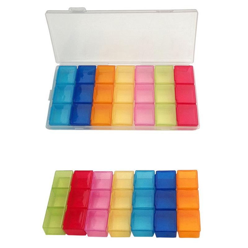 Box Case Organizer Week Storage Holder Case FOR Medicine Drug Pill 7 Day 21 Slot MD1145