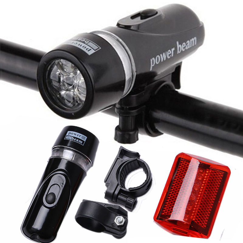 5 LED Flashlight Torch Water Resistant Bike Bicycle Front Head Light+Rear Tail Safety Flashlight Torch Night Day Lamp Set ZK93(China (Mainland))