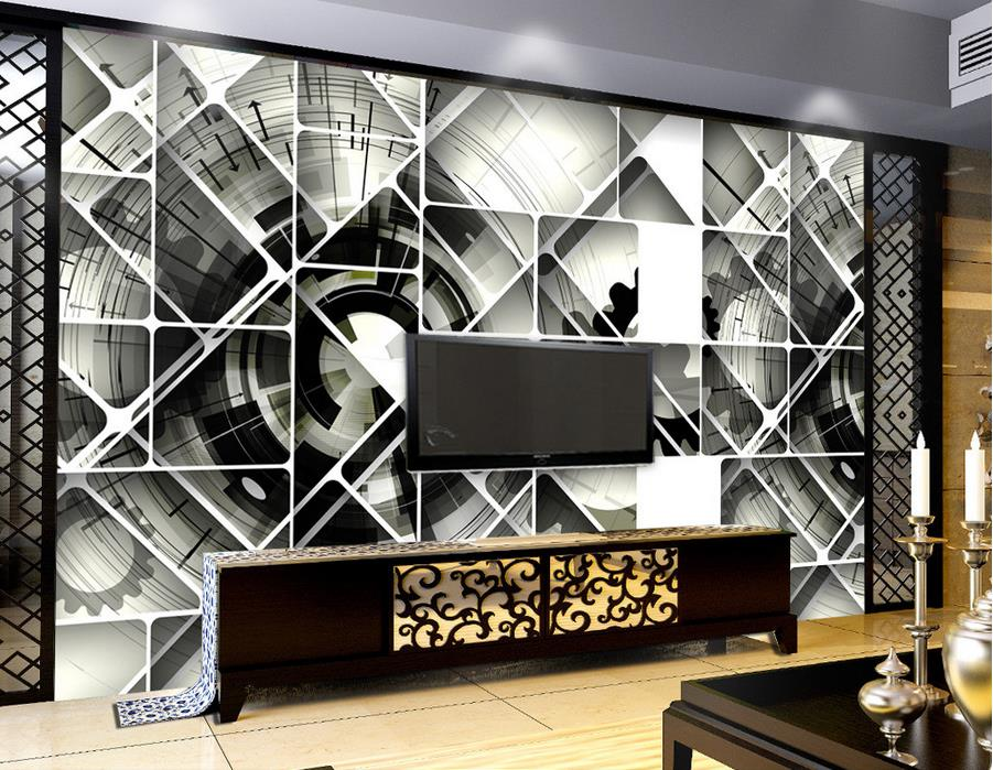 Custom size wallpaper non woven stereoscopic 3d black and for Custom size wall mural