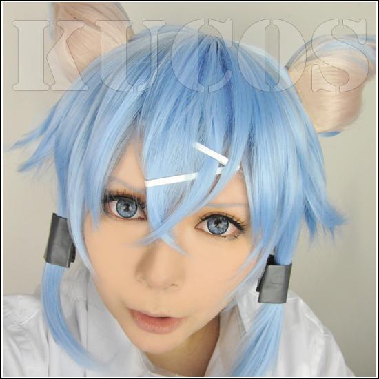 Sword Art Online Asada shino + ear blue Cosplay wig Free Wig Cap - BNS Super Store store