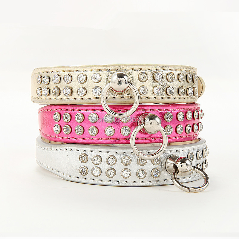 Free Shipping 2015 Lefdy New pink designer Dog collar with rhinestones white Leather and pet products for teddy chihuahua tops(China (Mainland))