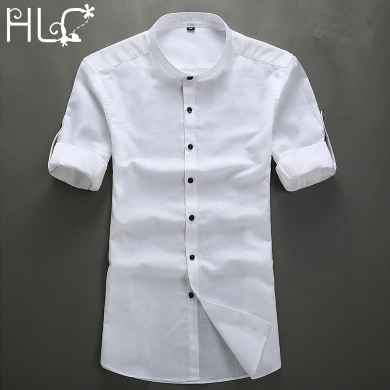 Half-Sleeves LINEN Shirts Men 2016 Cotton Chemises Vintage Shirts Mens Mandarin Collar Shirt Men Slim Fit Chinese Style Shirts(China (Mainland))