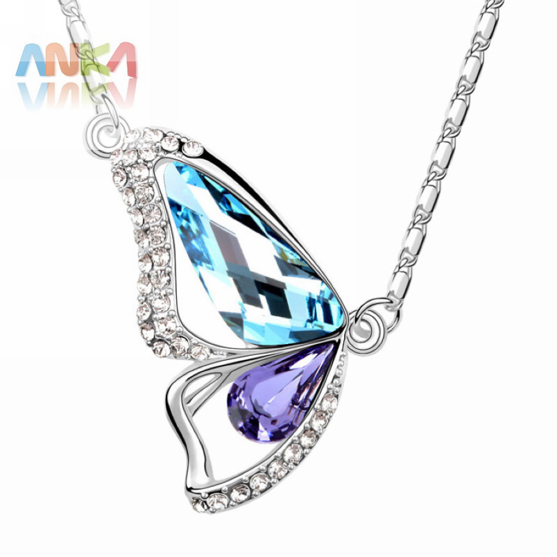 Christmas Gift Butterfly crystal necklace made with Swarovski elements Fashion Jewellry Free Shipping #89007<br><br>Aliexpress