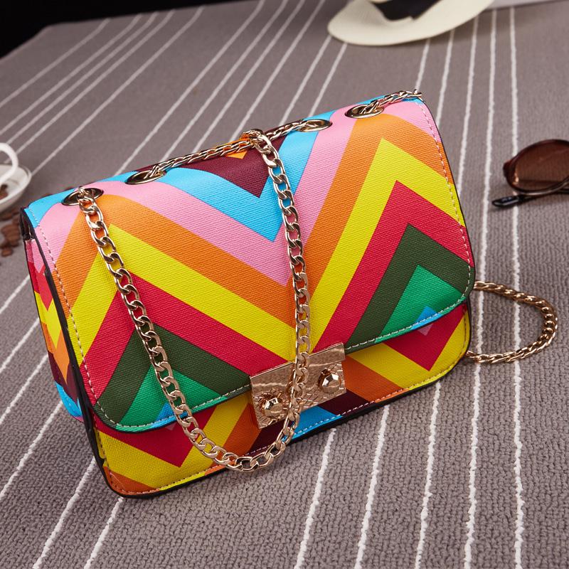 Free Shipping 2015 Women's Summer Multicolour Rainbow Chain Handbags Bags Ladies Fashion Print Messenger Bags(China (Mainland))