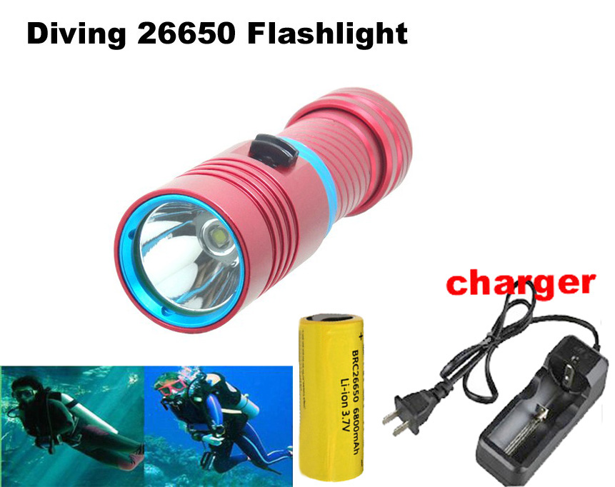mini Diving 26650 flashlight CREE XM-L2 waterproof magnetic switch LED Flashlight torch + 6800mah 26650 battery + charger