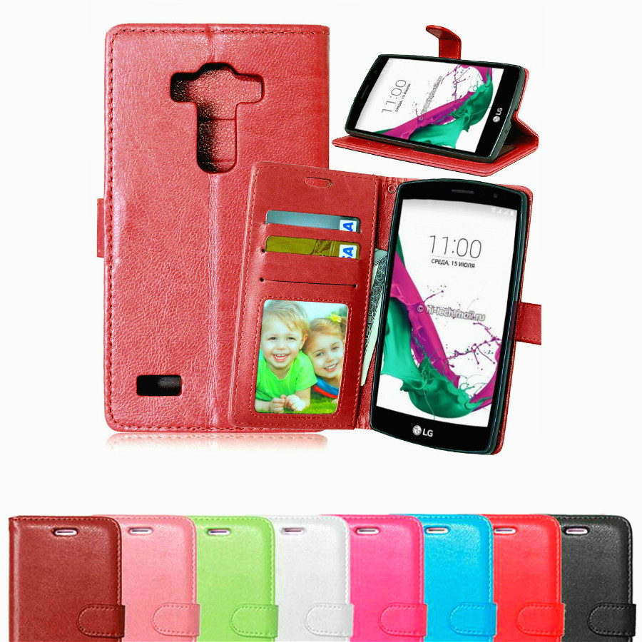 Luxury Wallet Flip PU Leather Case For LG G4 Beat Phone Bag Back Cover For LG G4S Case With Card Slot Holder Stand Holster(China (Mainland))