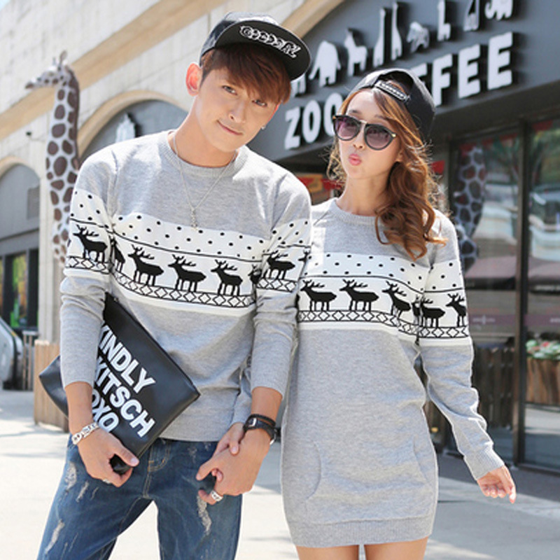 2015 Winter Women Sweaters And Pullovers Long Sleeve Oversized Couple Matching Christmas Sweaters Deer Cashmere Sweater Dresses(China (Mainland))