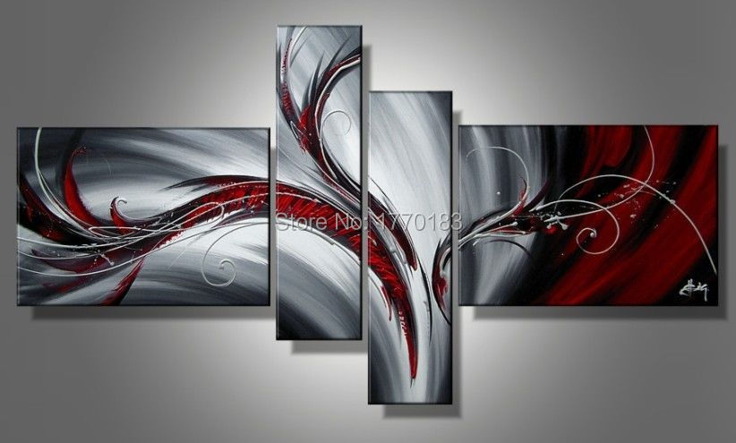 4 pieces black white and red paintings Modern Abstract canvas pictures painting home decorative wall art sets T4P26(China (Mainland))