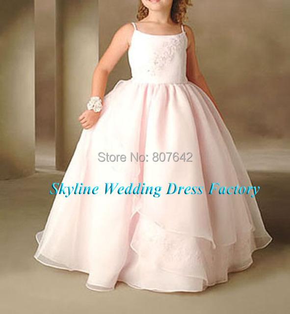 Custom-size/color Spaghetti straps sashes chiffon A-line Flower girl dresses flower girl gown children dresses Sky-1145