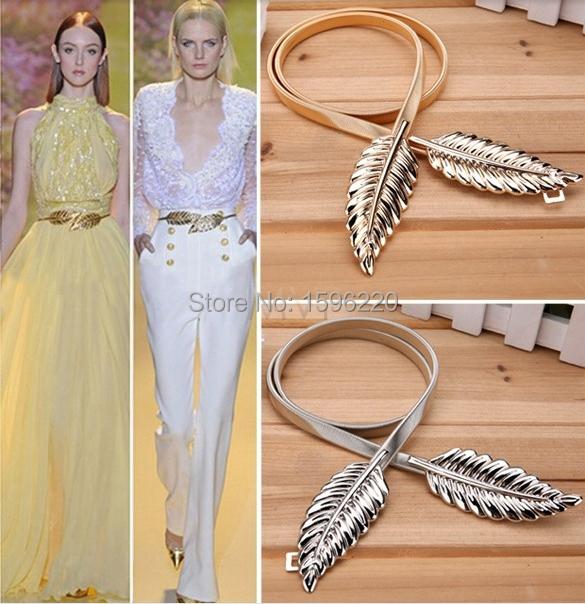 2015 dress women famous brand gold metal belts women&girls all-match alloy leaf elastic waistband waist thin belts accessories(China (Mainland))