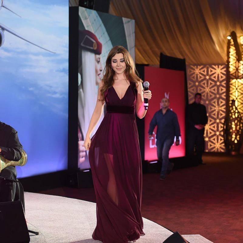 Sexy Free Shipping A-line Purple Chiffon V-neck Illusion Skirt Cheap Nancy Ajram Celebrity Dresses