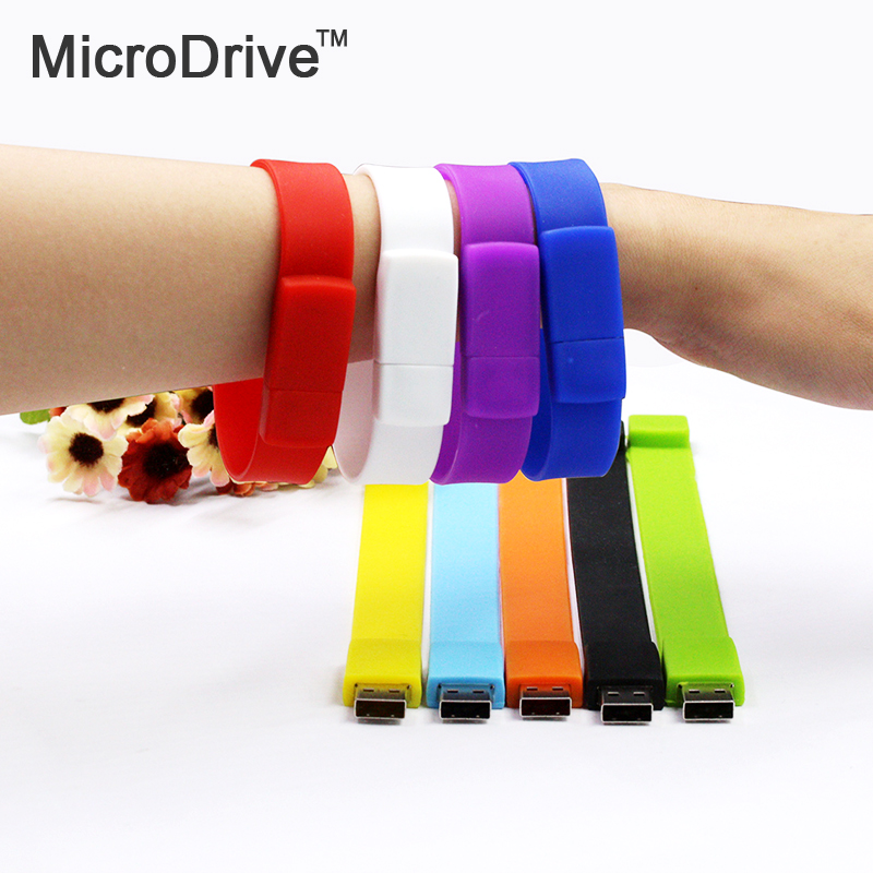 100% real capacity Silicone Bracelet Wrist Band 64GB 32GB 16GB 8GB 4GB USB 2.0 USB Flash Drive Pen Drive Stick U Disk Pendrives(China (Mainland))