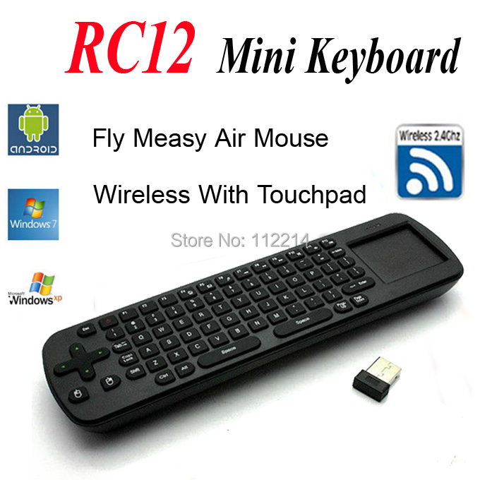 RC12 Wireless 2.4G Fly Air Mouse Keyboard Remote Control for Android TV Box MK802 UG802 MK808(China (Mainland))