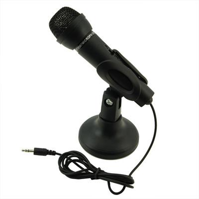 E79 Free Shipping Black 3.5mm Mini Studio Speech Mic Microphone w Stand(China (Mainland))
