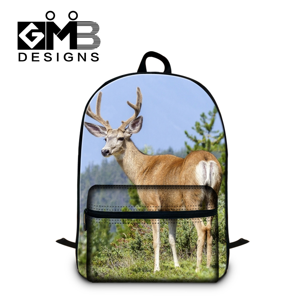 original brand GMB new fashion laptop computer bag 3D Elk printed backpack high quality cotton shoulder bag cute mochila bagpack(China (Mainland))