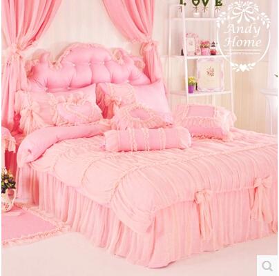 Free shipping~~Hot sale pink color princess home bedding sets/wedding bed sets 4pcs(China (Mainland))
