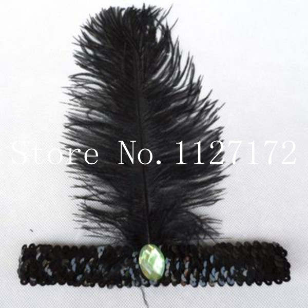 Freeshipping Fashion Paillette Sequin 5pcs Black color Ostrich Feather Head piece Headwear Hair Band Headband(China (Mainland))