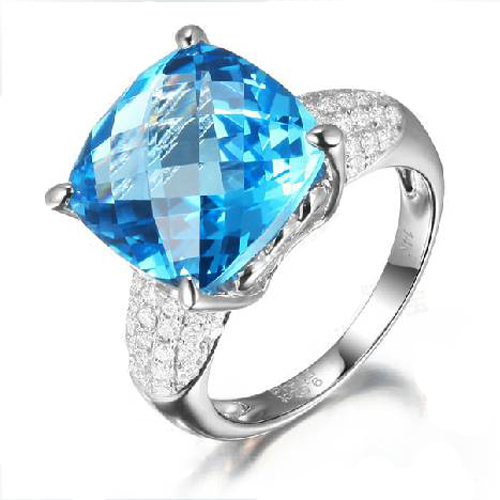 Qi Xuan_Natural Blue Topaz Luxury Rings_Finger Rings_S925 Sliver plated Real 18KPG Gold_Manufacturer Directly Sales(China (Mainland))