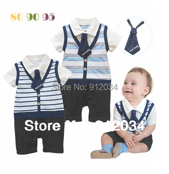 2015 summer cool baby rompers turn-down collar with a tie baby boys romper infant fashion wear