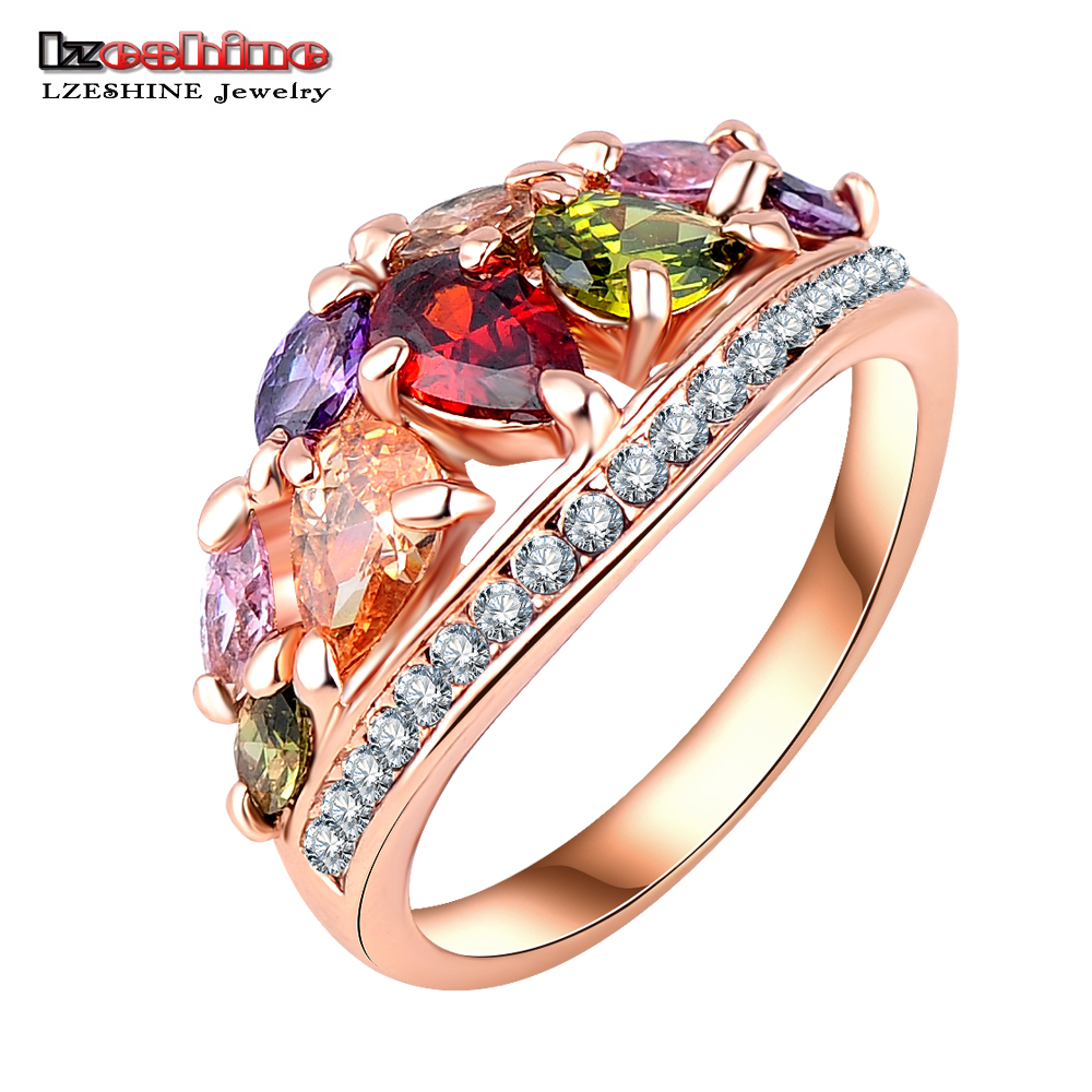 LZESHINE 2016 New Arrival Multicolor Fashionable Ring Women Rose Gold Color AAA Zircon Rings Anillos Ri-HQ0401-A