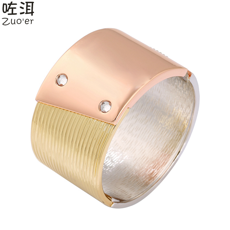 Hot Women's Trendy 3 Colors Composition Sport Big Wide Cuff Bangles For Women,Luxury Brand Stainless Steel Carter Nail Bracelet(China (Mainland))