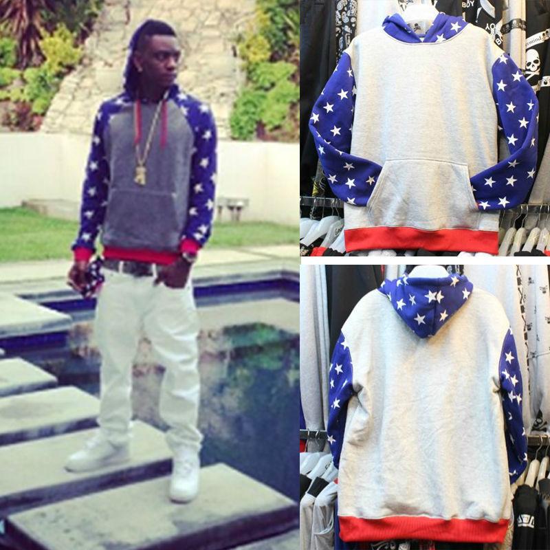 Pyrex Hoodie Pullover Sweatshirt Mens Thick Fleece 2014 Winter/Autumn Brand Hip-Hop Loose Fashion Streetwear Gray/Blue Stars HBA