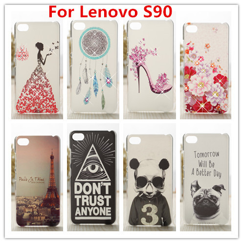 New Lenovo S90 Case Luxury Crystal Diamond 3D Bling Hard Plastic Case Cover For Lenovo S90 Cell Phone Case(China (Mainland))
