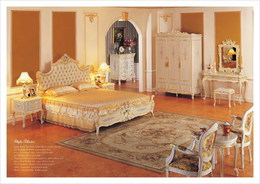 Antique Hand Carved Wood Furniture Baroque Leaf Gilding Bedroom Furniture Free Shipping In